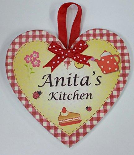 Anita nommé personnalisé en forme de cœur Kitchen Plaque magnétique par Sterling effectz