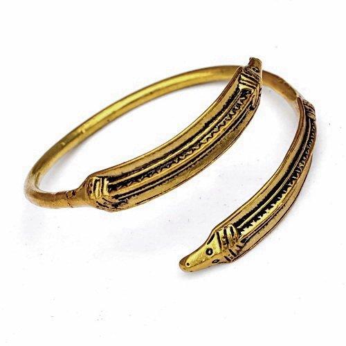 Schlangen-Armreif der germanischen Eisenzeit nach einem historischen Originalfun Farbe Bronze