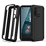 TJS Phone Case Compatible with Motorola Moto G Power (2020), Dual Layer Heavy Duty Shockproof Rugged Hybrid Hard Phone Drop Protector Back Cover (Black)
