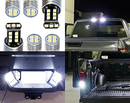 iJDMTOY Complete 6pcs Super Bright Xenon White LED License Plate, Backup and High Mount Cargo Lights Combo Kit Compatible With 2018-up Ford F150, 2017-up F250 F350