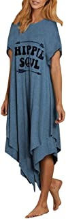Womens Soul T-Shirt Dress Comfy Hot Tunic Shift Dress With Double Layer Asymmetry Hem