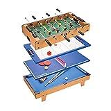 JHSHENGSHI Mesa de futbolín, Mesa de Juego combinada 4 en 1 con futbolín/Hockey sobre Hielo/Tenis de Mesa/Billar para Adultos y niños