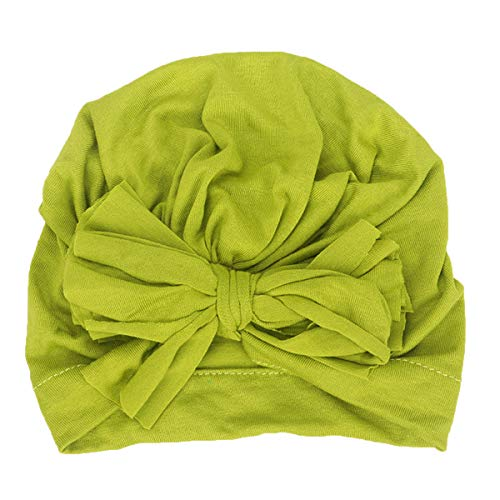 Tianhaik muts voor pasgeborenen, baby, meisjes, winter, muts, met ruches, strik, turban, 0-24 mois, Groen