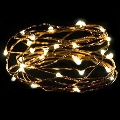 Wivarra 3 metros boton de plata 30LED alimenta alambre de cobre guirnalda luces que