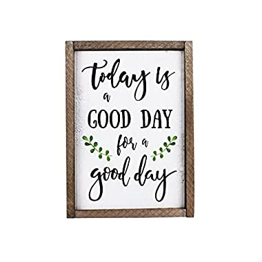 Elegant Signs Today Is A Good Day For A Good Day Funny Framed Wood Sign Rustic Funny Sign Rustic wall art Gift for Friend (13 x 20)