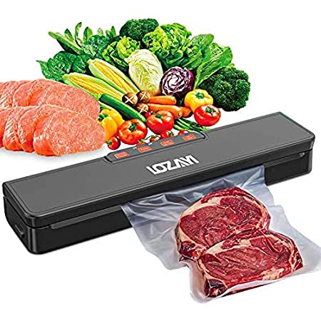 Vacuum-Sealer-Machine Food-Saver Automatic Air-Sealing-Storage - Dry & Moist Modes, Led Indicator Light, Easy to Clean Food Vacuum Sealer for Food Preservation with 15 Pack Bags-Black
