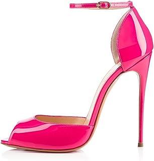 elashe - Scarpe da Donna - 12CM Peep Toe Tacchi Alti- Tacco a Spillo - con Cinturino Caviglia Fibbia