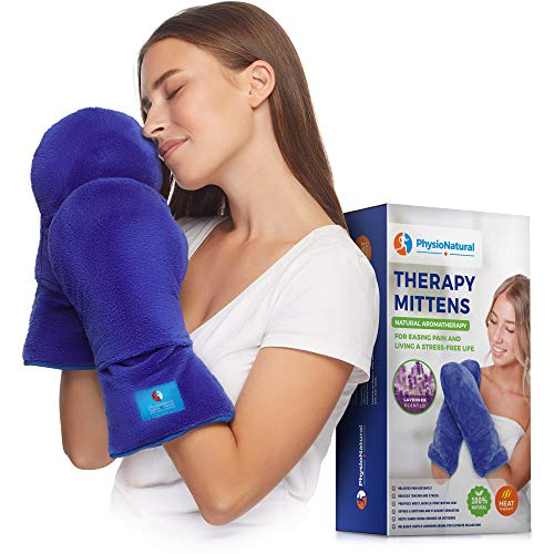 Microwavable Therapy Mittens with Flaxseed–Moist Heat Therapy Relief for Hands and Fingers in Cases of Stiff Joints, Trigger Finger, Inflammation, Raynaud's, Carpal Tunnel–Natural Aromatherapy Gloves