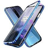 Funda para OnePlus 7 Pro, Adsorción Magnética Parachoques de Metal con 360 Grados Protección Case Cover Transparente Ambos Lados Vidrio Templado Cubierta para OnePlus 7 Pro - Azul