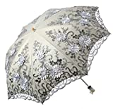 LCY Embroidered Lace Double-deck Anti-UV Parasol Sun/Rain/Snow 2 Folding Umbrella-Grey