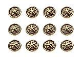 RECHERE 12 PCS Star Roped Rim Metal Shank Buttons Craft for DIYS Sewing Embellishment (Antique Gold,18mm)