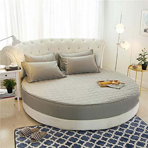 Sheeets & Bed Bettdecke, gesteppt, Farbe reine 100 % Baumwolle, dick, Winter, Hotel, Bett, rund, Matratze, Bettlaken + 25 cm Durchmesser, 220 cm Durchmesser, 2 Kissen