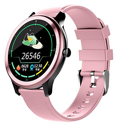 QFSLR Smartwatch con Reloj Inteligente Hombre Mujer con Monitor De Sueño, Pulsómetro, Podómetro, Notificación Inteligente, Pulsera Inteligente Fitness Tracker para iOS Android,Rosado