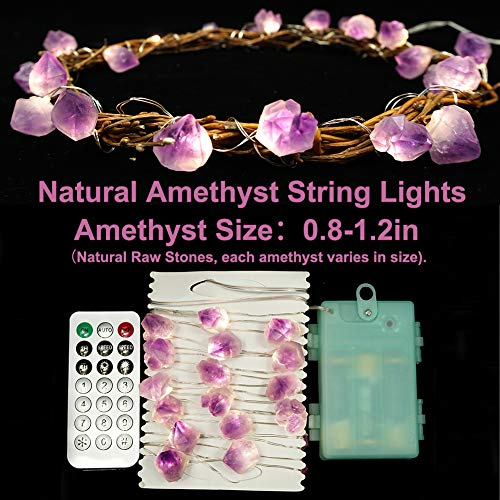 BOHON Decorative Lights Plus Amethyst LED String Lights Battery Operated with Remote 10 ft 30 LEDs Natural Crystal String Lights for Bedroom Party Indoor Birthday Wedding Decor(Plus) 2