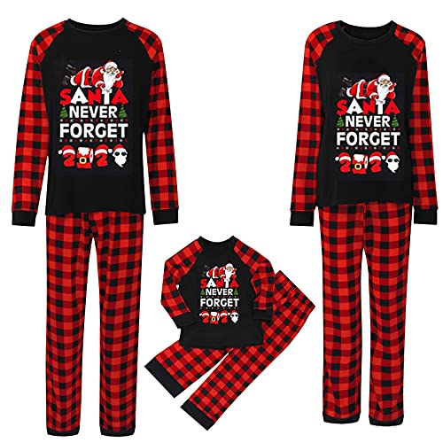 Christmas Family Pajamas Matching Sets, Never Forcet Printed Classic Plaid Xmas Clothes Soft Sleepwear Outfit