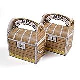 12 unids pequeño pirata cráneo tesoro cofre caja de caramelo mango madera muffin pastel caja de embalaje regalo niño feliz cumpleaños fiesta