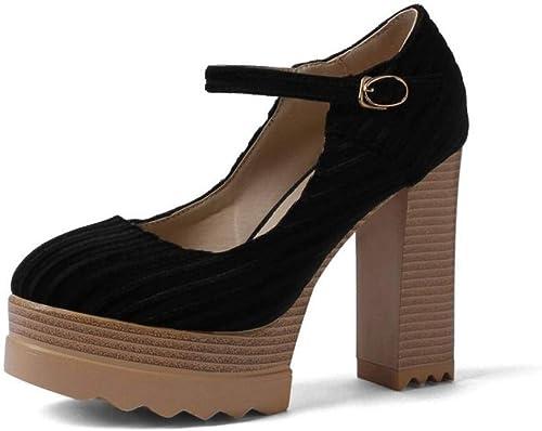 YTTY Talon épais Chaussures Talons Hauts Grid Faible pour Femmes Grande Taille, Noir, 37