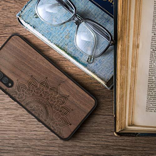 kwmobile Holz Schutzhülle für Huawei P20 Pro - Hardcase Hülle mit TPU Bumper Walnussholz in Aufgehende Sonne Design Dunkelbraun - Handy Case Cover - 4