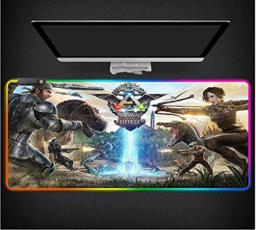 Mauspads Ark Survival Evolved RGB Mauspad LED-Licht Gaming XL Rubber Gamer Mauspad Schreibtisch Computer Pad 1000X500X4Mm