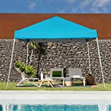 Blissun 10' x 10' Outdoor Pop-Up Slant Leg Canopy, Folding Tent Portable Pergola for Commercial Wedding Party BBQ Event, Sunshade Waterproof Heavy Duty (Blue)
