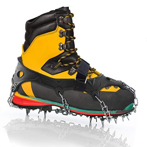 LimitlessXme Schuh-Spikes für Schnee und Glatteis. Steigeisen Grödel mit Krallen aus Edelstahl. 20 Zähne für Outdoor-Sport, Wanderungen, Spazieren im Winter (XL)