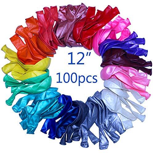 GNAWRISHING Globos, 100 Globos de Latex Muy Resistentes en Colores Variados. Pueden rellenarse de Helio, Aire o Agua Decorar Fiestas de cumpleaños, Navidades, Bodas y Eventos.