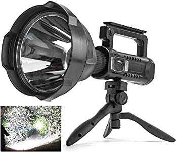 Rechargeable Spotlight Flashlight High Lumens 90000 Lumens Super Bright Led Searchlight with Tripod and USB Output IPX5 Waterproof 4 Modes Handheld Spotlight for Camping Emergencies