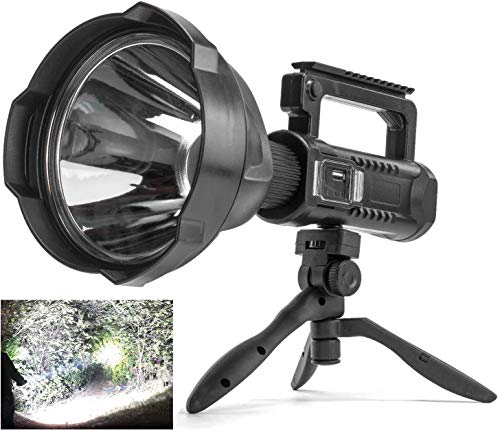 Rechargeable Spotlight Flashlight High Lumens, 90000 Lumens Super Bright Led Searchlight with Tripod and USB Output, IPX5 Waterproof 4 Modes Handheld Spotlight for Camping Emergencies