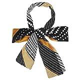 Sourcingmap - Pañuelo largo para el cuello con diseño de rayas y lunares Negro Negro ( 57.87*5.12' (L*W)