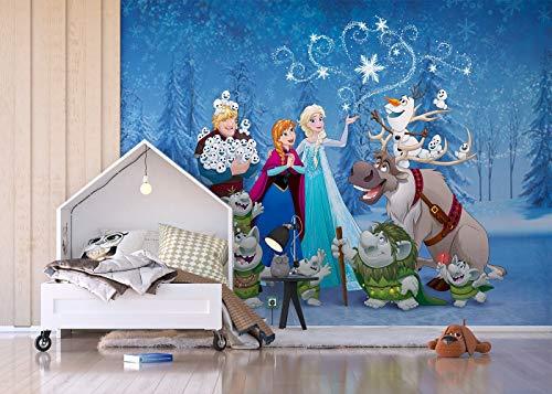 AG Design FTDxxl 2243Carta Disney Frozen Il Regno di Ghiaccio–Carta da Parati per Camera dei Bambini, 4Pezzi, Multicolore, 360x 255cm