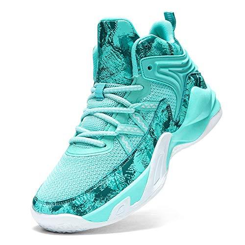 WELRUNG Unisex's High Top Lightweight Fly-Weaving Running Jogging Sneakers Sports Tennis Basketball Shoes Green 8.5/7 US