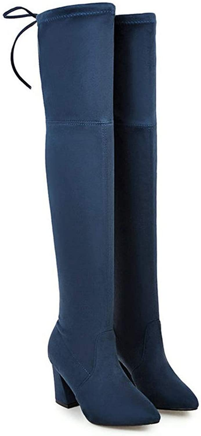 Autumn Winter Women Boots Square Heel Faux Suede Thigh High High Heels Over The Knee Boots Pointed Toe