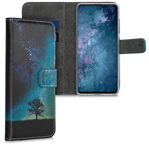 kwmobile Wallet Hülle kompatibel mit Samsung Galaxy A51 - Hülle Kunstleder mit Kartenfächern Stand Galaxie Baum Wiese Blau Grau Schwarz