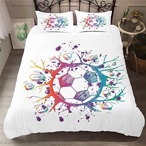 Treer Juego de Cama de 3 Piezas Microfibra Funda Nórdica +2x50x75cm Fundas de Almohada 3D Estilo de impresión Fútbol para Cama (3pcs-150x200+50x75cm,Fútbol)