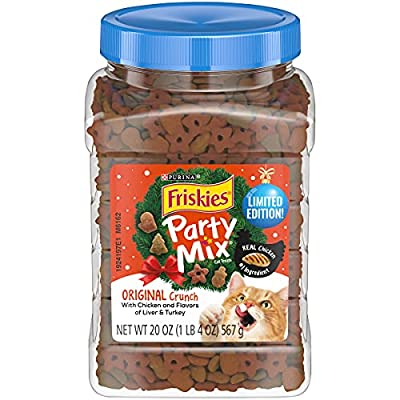 Purina Friskies Made in USA Facilities Cat Treats, Party Mix Original Crunch Holiday - 20 oz. Canister