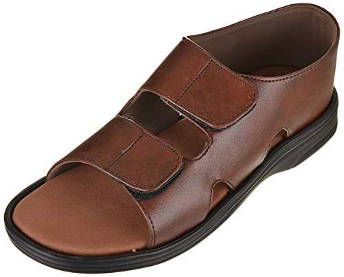 Ortho & DiaCare Men's Brown Vinyl Medifoot Sandals with MCP Insole and Adjustable Strap - 8 (303BR)