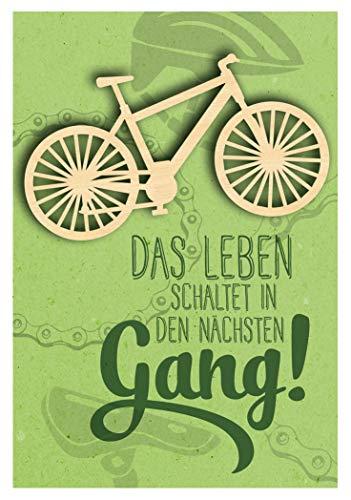 KE - Geburtstagskarte für Männer - Geburtstag Karte mit tollem Holzteil (Fahrrad) und Innendruck - Format DIN B6 - inkl. Umschlag - Motiv: Fahrrad