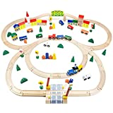 Conductor Carl TCON-201 100-Piece Train Track Town Starter Set Bulk Value Wooden Set with 34 Track Pieces, 12 Cars & Trains, 15 People/Signs, & 39 Trees/Houses