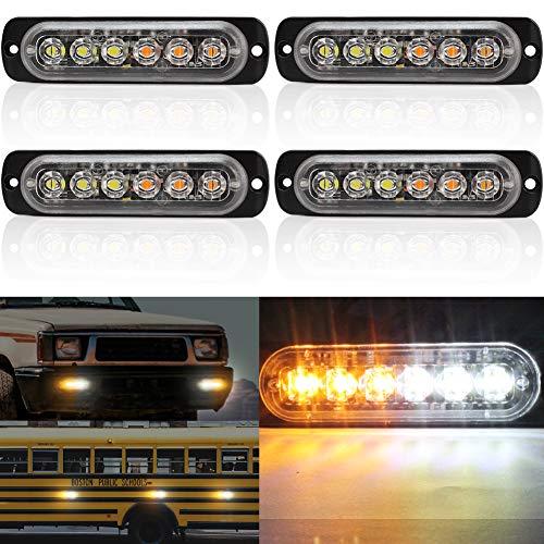 Biqing 4X Luci Stroboscopiche di Emergenza per Auto,Universal 6LED Luce Stroboscopica LED Emergenza 18 Modalità Luce Stroboscopica Lampeggiante Ambra/Bianca 12V 24V per Auto Camion Rimorchio Caravan