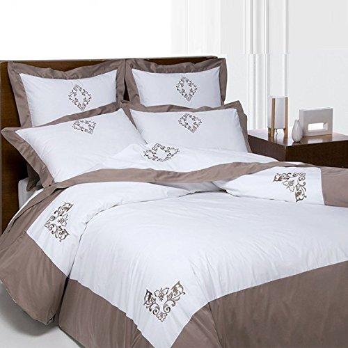 Salomé Prestige - Juego de funda nórdica y 2 fundas de almohada (algodón percal, 240 x 260 cm), color gris
