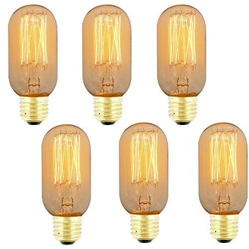 ZXNM Edison tungsteno bombilla Tungsteno Tornillo E27 De columna Clásico Bombillas 220v 4w Fuente de luz cálida Arte Decoración de iluminación antigua 6 piezas/paquete Ámbar