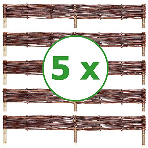 BOGATECO 5 x Beeteinfassung aus Weide | 100 cm Lang & 10 cm Hoch | Holz-Zaun Rasenkante | Weiden-Zaun Steckzaun Perfekt für den Garten als Weg-Abgrenzung