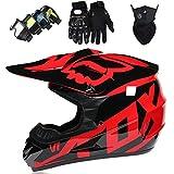Casco Motocross Niño, DTC Certificación Casco Downhill de moto para Adultos, Cascos de Cross de Dirt Bike Set con Gafas/Máscara/Guantes con Diseño FOX - Negro Rojo