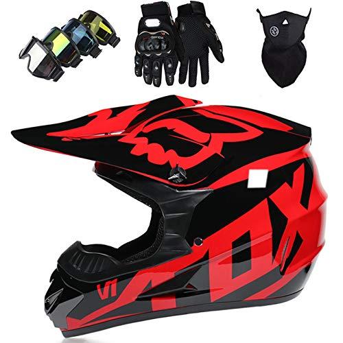 Casco Motocross Bambino,Full Face Crash Caschi Set Nero Rosso (Occhialini/Guanti/Maschera), Certificato DOT & ECE, Casco da Downhill Adulto per Moto ATV Off Road MTB - con FOX Design