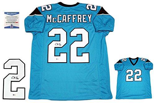 Christian McCaffrey Autographed Signed Custom Jersey - Beckett - Pro Style - Blue