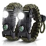 HNYYZL 2 Pack Paracord Survival Bracelet, Upgrade Tactical Paracord Bracelet Emergency Gear 20