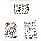 Láminas infantiles para cuadros decoración Póster educativo Juego de 3 Cuadros Infantiles Animales del Bosque para decorar una habitación infantil o de bebé de un niño o de una niña DINA4