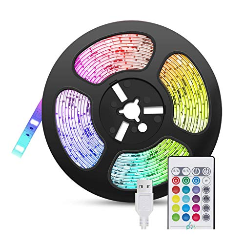 Beada Tira de Luces LED SincronizacióN de MúSica, 5M USB Tiras de Luces LED con Control Remoto RGB 5050 Tiras de Luces Que Cambian de Color, Tira LED