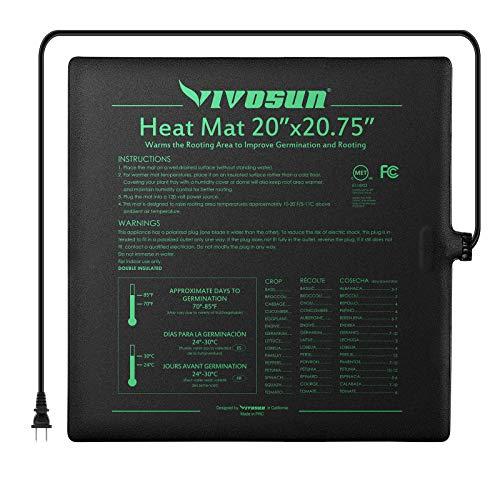 "VIVOSUN Durable Waterproof Seedling Heat Mat Warm Hydroponic Heating Pad 20"" x 20"" MET Standard"