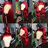 Red Color Body Wave Lace Front Wigs Human Hair with Baby Hair 130% Density Brazilian 13x6 Deep Part Lace Front Wigs for African American Women (20 inch, 13x4 Lace Front Wig)